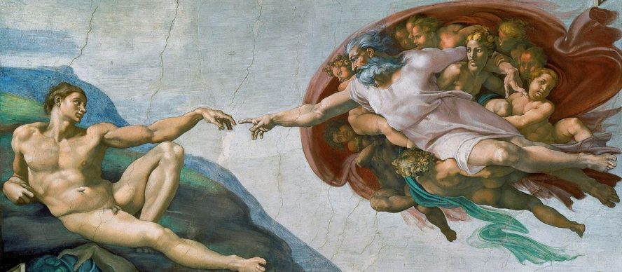 La creación de Adán - fresco en el techo de la Capilla Sixtina, pintado por Miguel Ángel